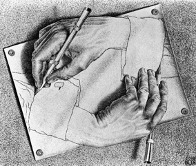 Hands, by M. C. Escher - (c) Cordon Art-Baarn-Holland