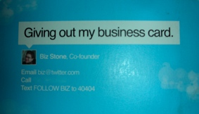 Biz Stone business card
