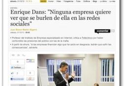 """Enrique Dans: """"Ninguna empresa quiere ver que se burlen de ella en las redes sociales"""" - La Información"""