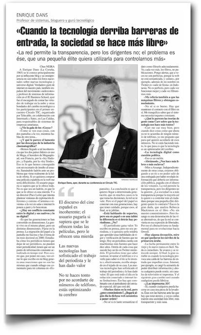 Cuando la tecnología derriba barreras de entrada, la sociedad se hace más libre - La Nueva España (pdf)