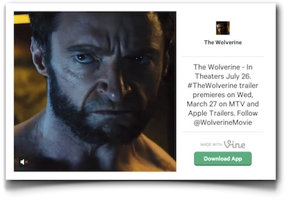 Wolverine tweaser - Click to see it in Vine
