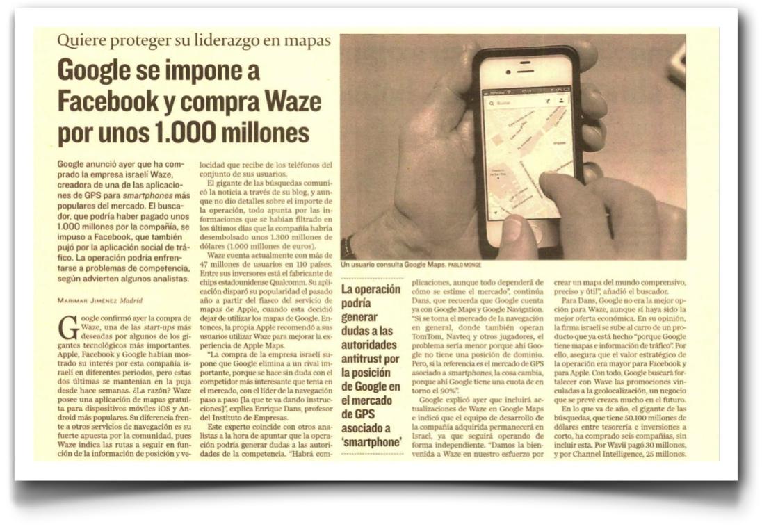 Google se impone a Facebook y compra la compañía de geolocalización social Waze - Cinco Dias