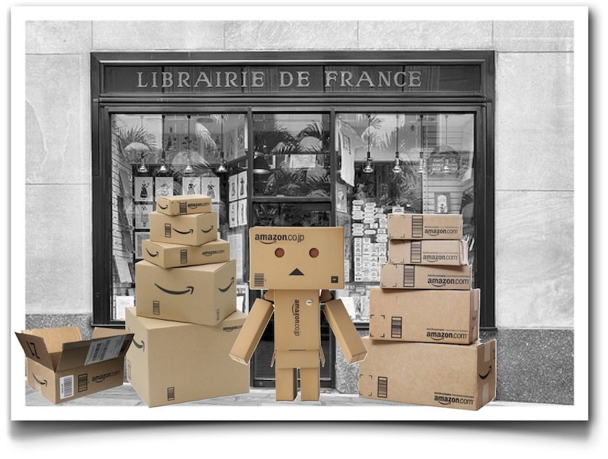 French bookstore and Amazon boxes