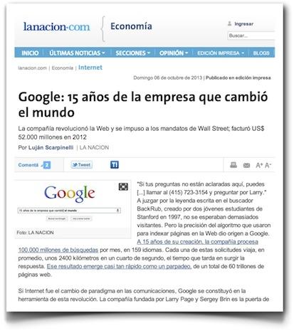 Google: 15 años de la empresa que cambió el mundo - La Nación