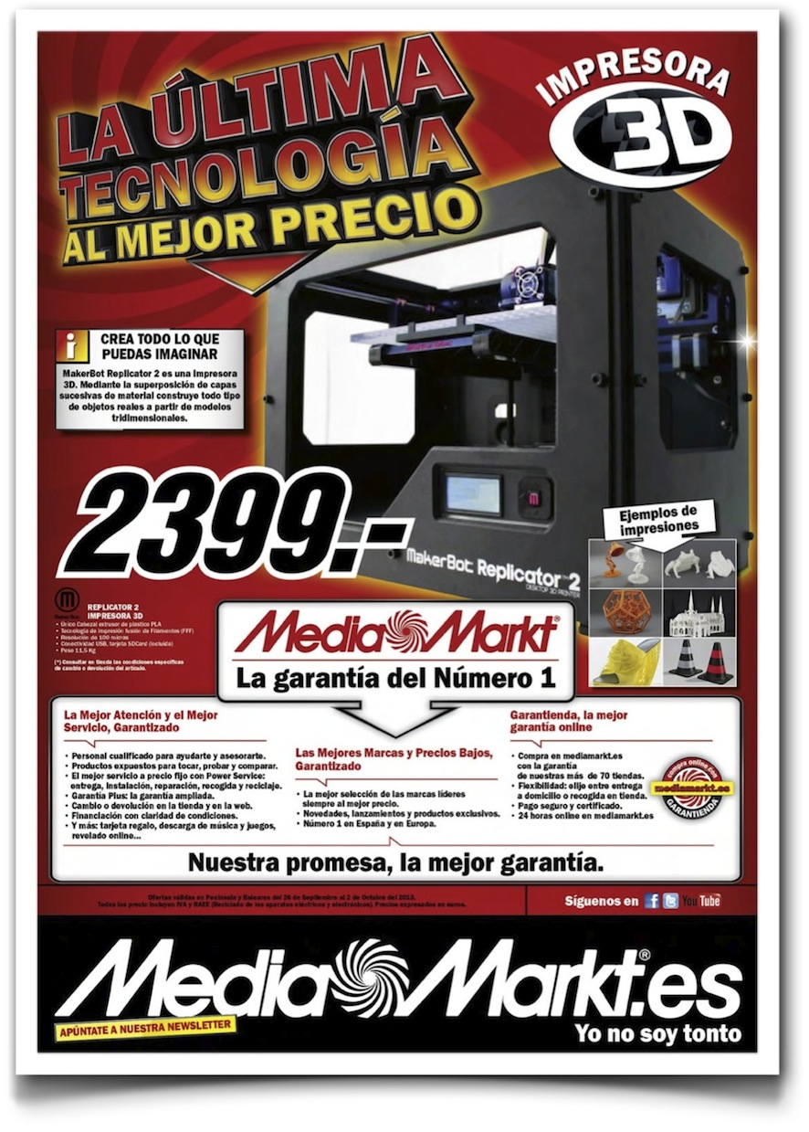 MakerBot Replicator en el folleto de MediaMarkt