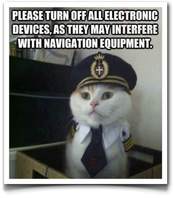 electronic devices in planes