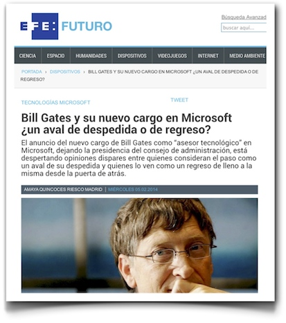 Bill Gates y su nuevo cargo en Microsoft ¿un aval de despedida o de regreso? - EFE