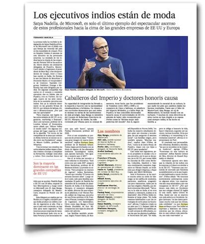 Los ejecutivos indios están de moda - El País (pdf, haz clic para leer cómodamente)
