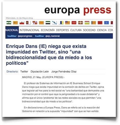 """Enrique Dans (IE) niega que exista impunidad en Twitter, sino """"una bidireccionalidad que da miedo a los políticos"""" - Europa Press"""