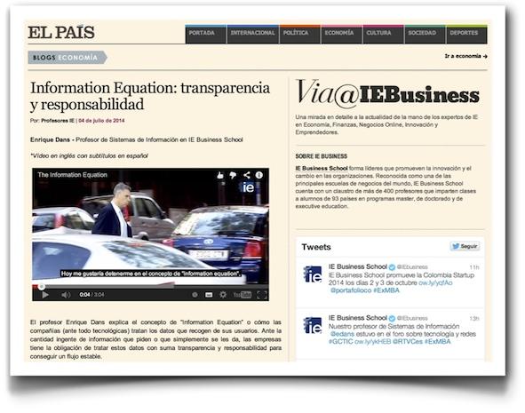 Information equation - El Pais (tres minutos, vídeo en inglés con subtítulos en español)