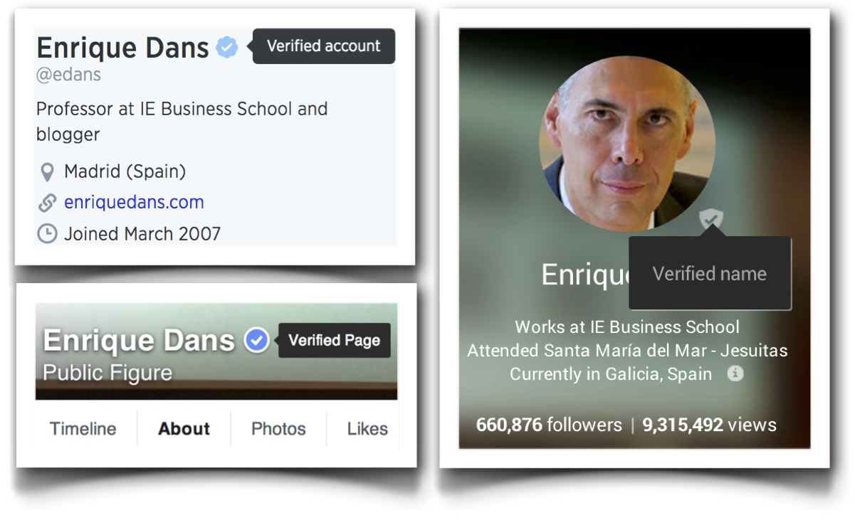 Twitter, Google+ and Facebook verified accounts