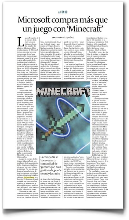 Microsoft compra más que un juego con Minecraft - Cinco Dias (pdf, haz clic para leer completo)