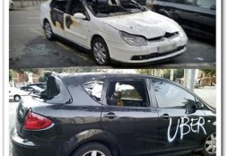 Uber cars burned Barcelona