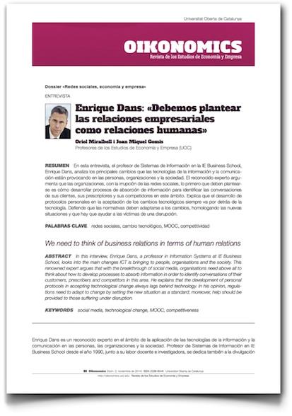Enrique Dans: 'Debemos plantear las relaciones empresariales como relaciones humanas' - Oikonomics