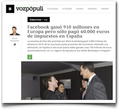 Facebook ganó 910 millones en Europa pero sólo pagó 60.000 euros de impuestos en España - Vozpopuli