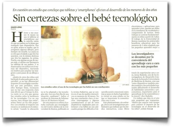 Sin certezas sobre el bebé tecnológico - La Vanguardia (pdf)