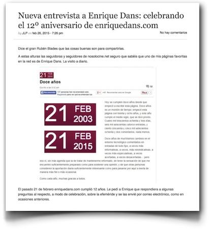 Nueva entrevista a Enrique Dans: celebrando el 12º aniversario de enriquedans.com - No sólo CINE