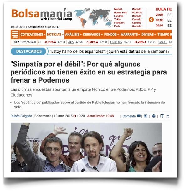 """""""Simpatía por el débil"""": Por qué algunos periódicos no tienen éxito en su estrategia para frenar a Podemos - Bolsamania"""