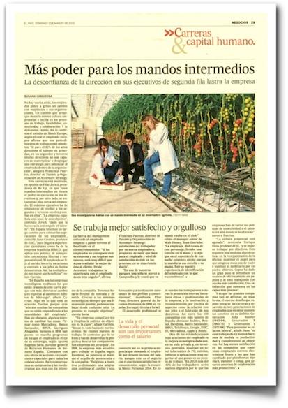 Más poder para los mandos intermedios - El País (pdf)