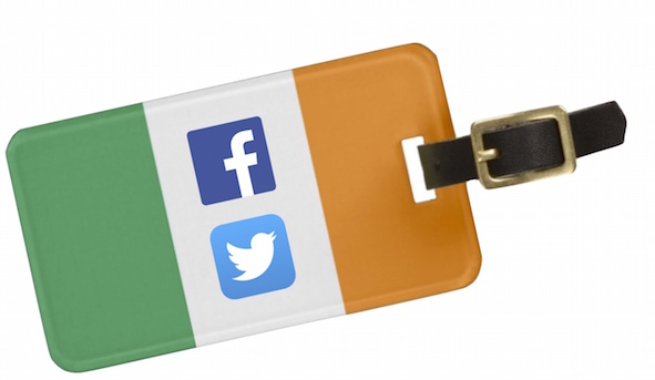 Facebook and Twitter icons in an Irish luggage name tag