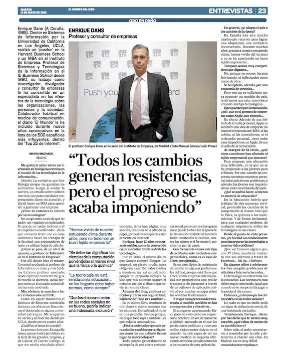 Todos los cambios generan resistencia, pero el progreso se acaba imponiendo -El Correo Gallego (pdf)