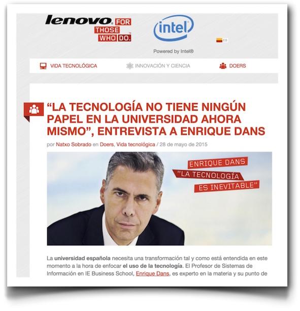 """""""La tecnología no tiene ningún papel en la universidad ahora mismo"""", entrevista a Enrique Dans - Lenovo"""