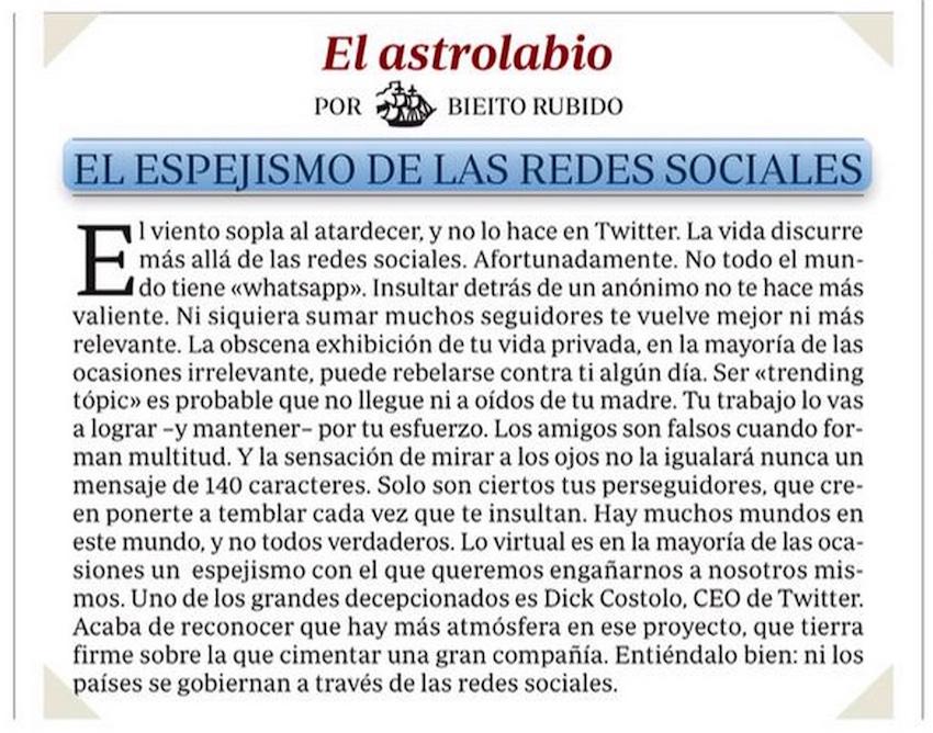 El espejismo de las redes sociales - Bieito Rubido (ABC, sábado 13 de junio de 2015)