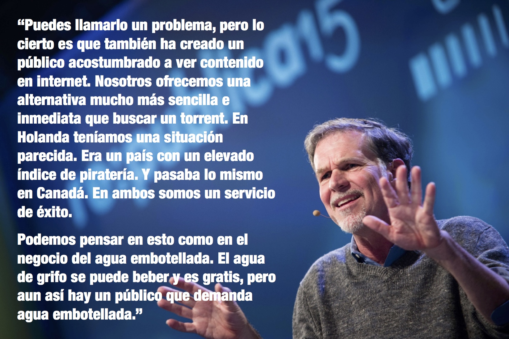 Reed Hastings on piracy (IMAGE: Gregor Fischer, TEXT: El Mundo)