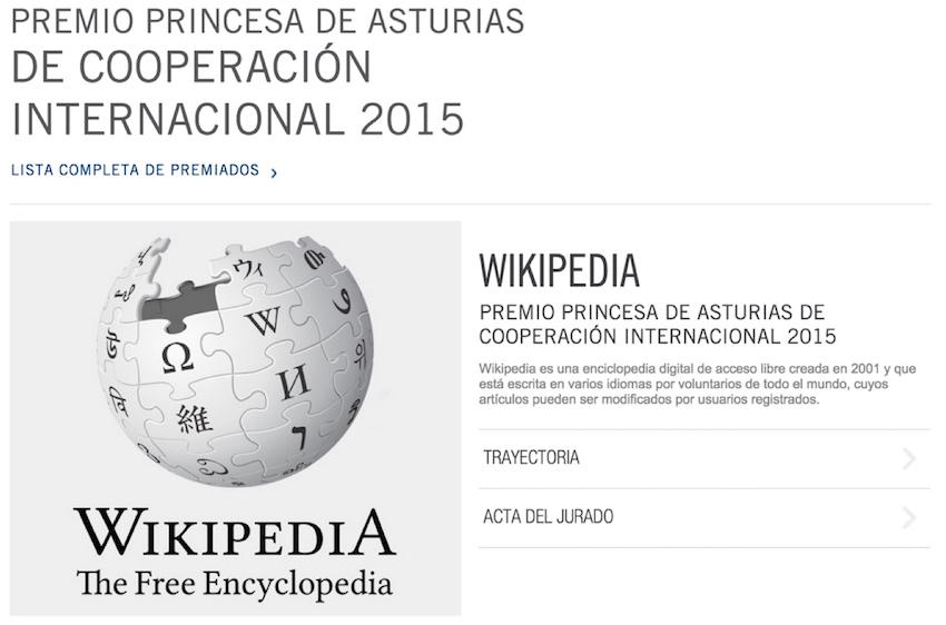 Wikipedia - Premio Princesa de Asturias de Cooperación Internacional 2015