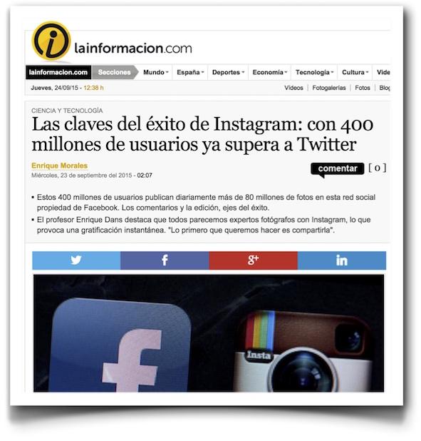 Las claves del éxito de Instagram: con 400 millones de usuarios ya supera a Twitter - La Informacion