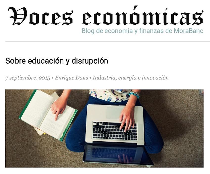 Sobre educación y disrupción - Voces Económicas