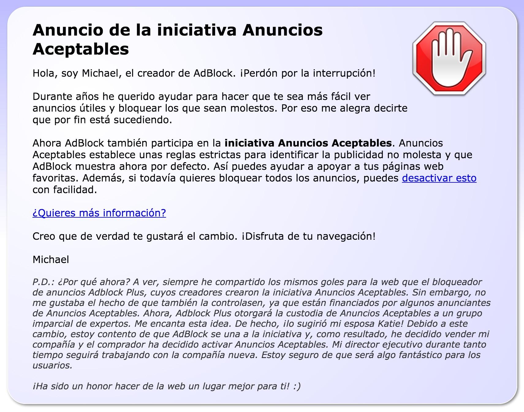 Anuncio de venta de AdBlock