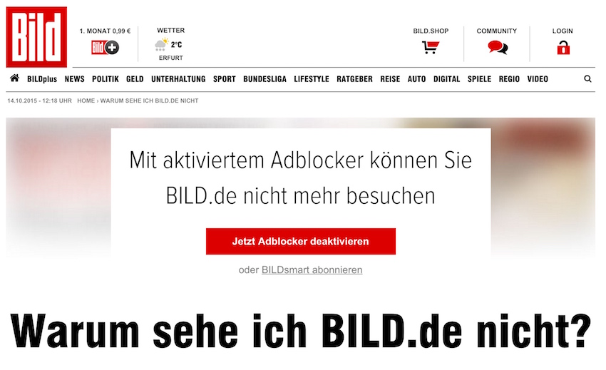 Disable adblocker - Bild