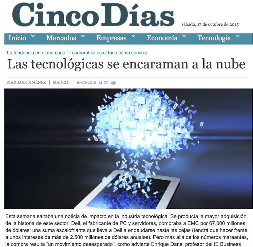 Las tecnológicas se encaraman a la nube - Cinco Dias