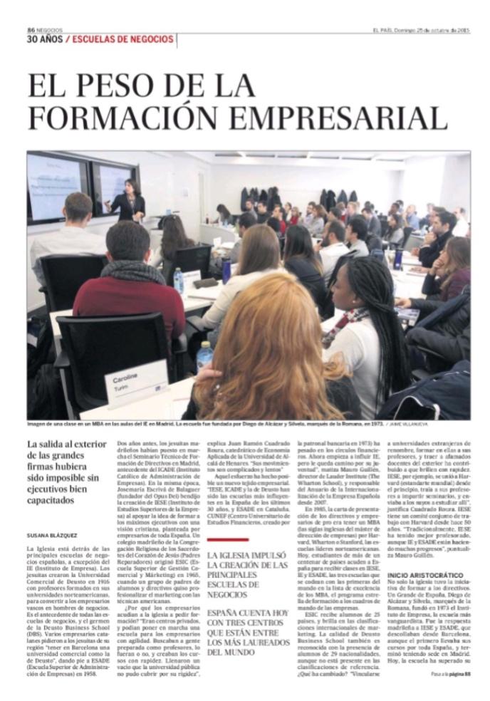 El peso de la formación empresarial - El Pais (pdf)