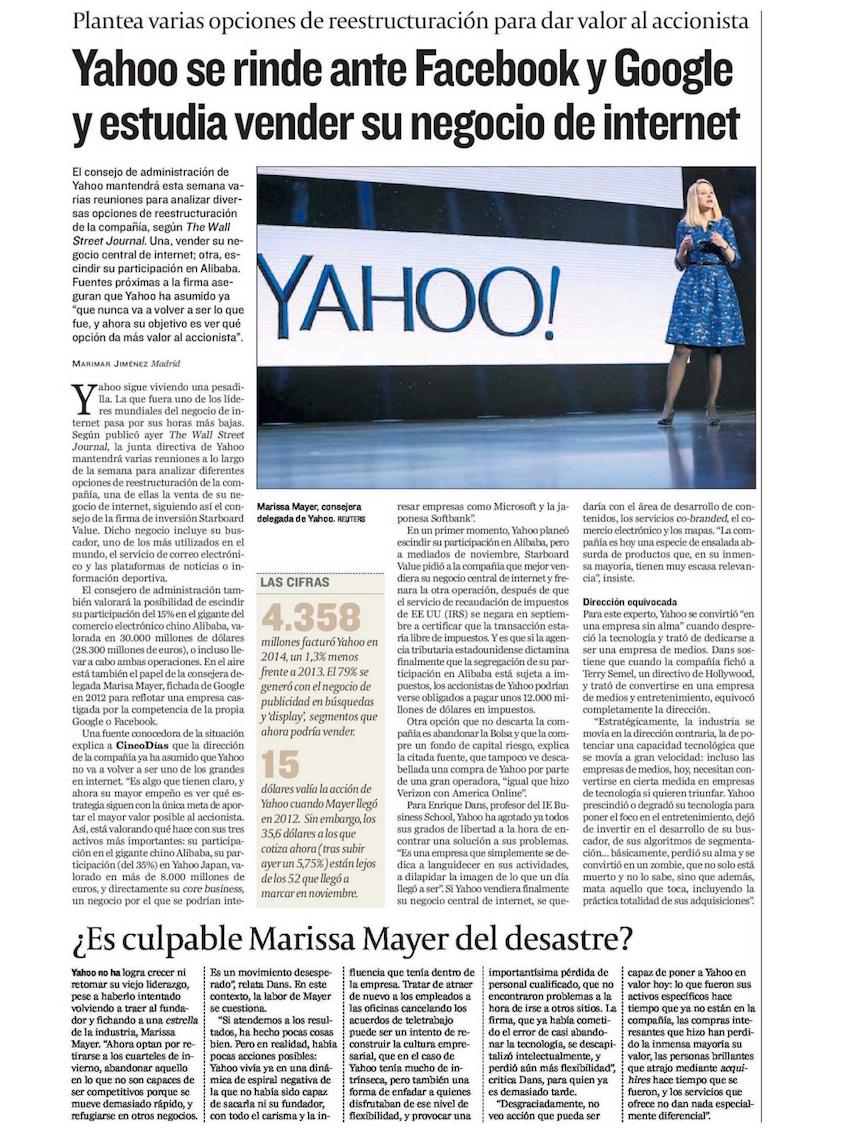 Yahoo se rinde ante Facebook y Google y estudia vender su negocio de internet - Cinco Dias