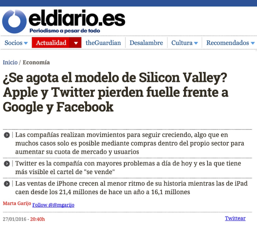 ¿Se agota el modelo de Silicon Valley? Apple y Twitter pierden fuelle frente a Google y Facebook - El Diario