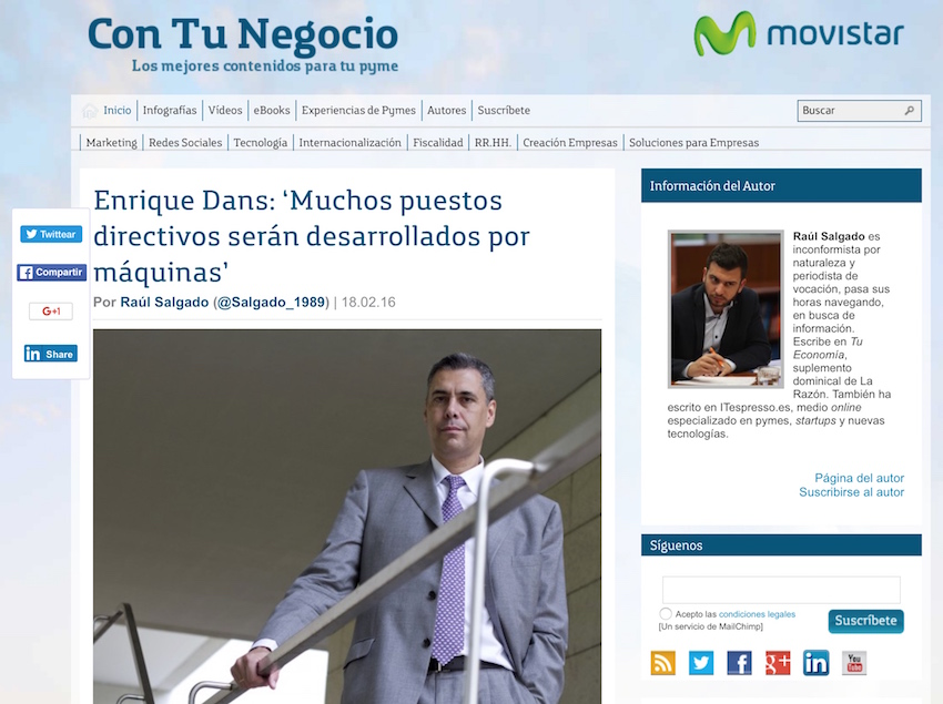 Enrique Dans: 'Muchos puestos directivos serán desarrollados por máquinas' - Con Tu Negocio