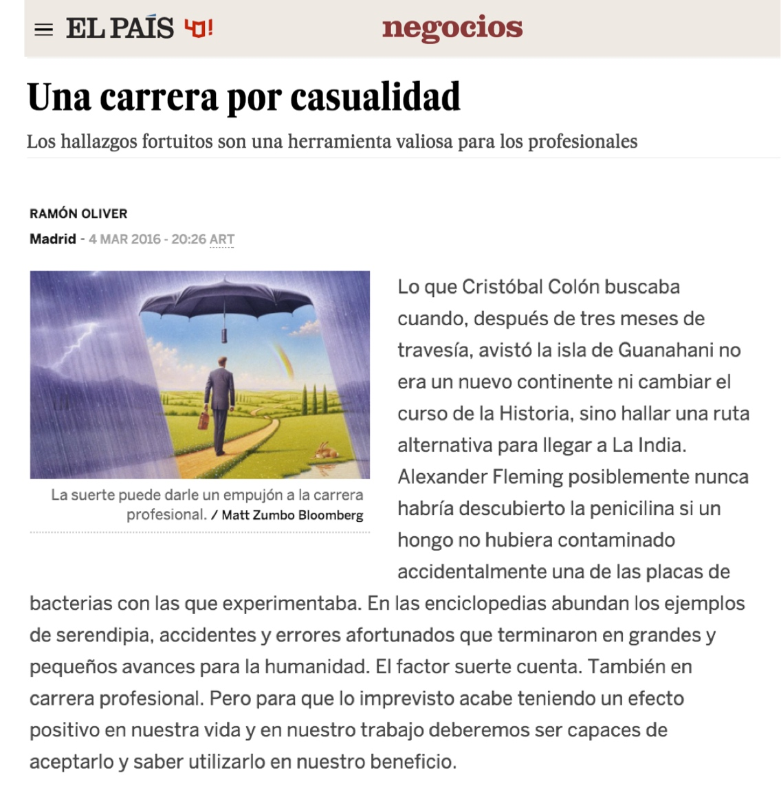 Una carrera por casualidad - El Pais (pdf)