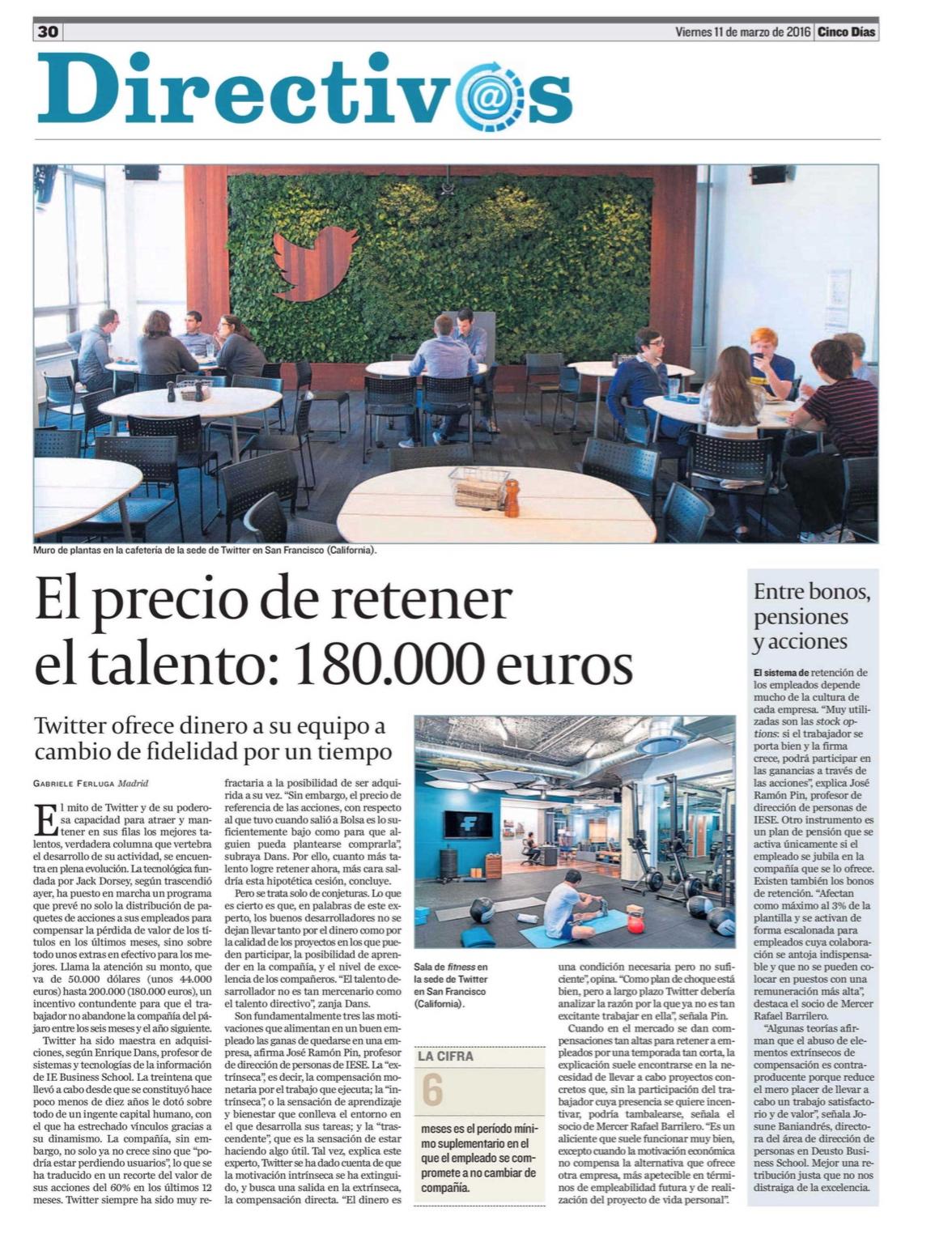El precio de retener el talento: 180.000 euros - Cinco Dias (pdf)