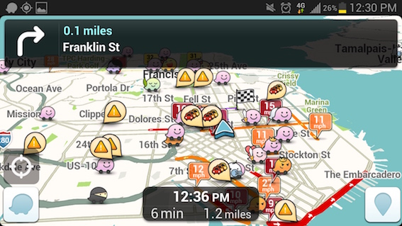 Waze crowded map
