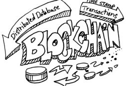 56354757 - an image of a blockchain doodle set.