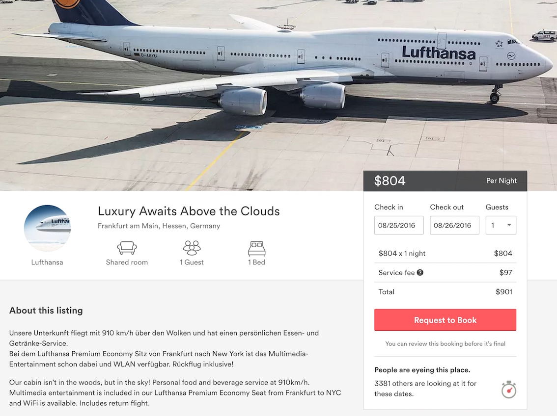 Lufthansa listing on Airbnb