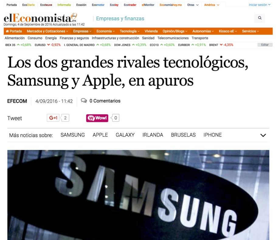 Los dos grandes rivales tecnológicos, Samsung y Apple, en apuros - El Economista (pdf)
