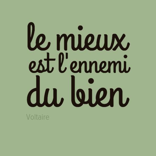 """""""Lo mejor es enemigo de lo bueno"""" - Voltaire"""