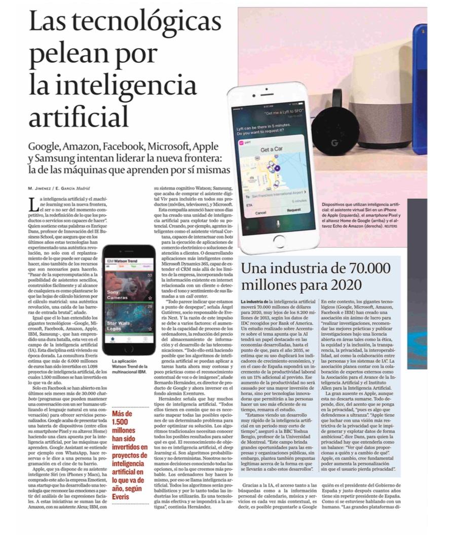 Las tecnológicas pelean por la inteligencia artificial - Cinco Días