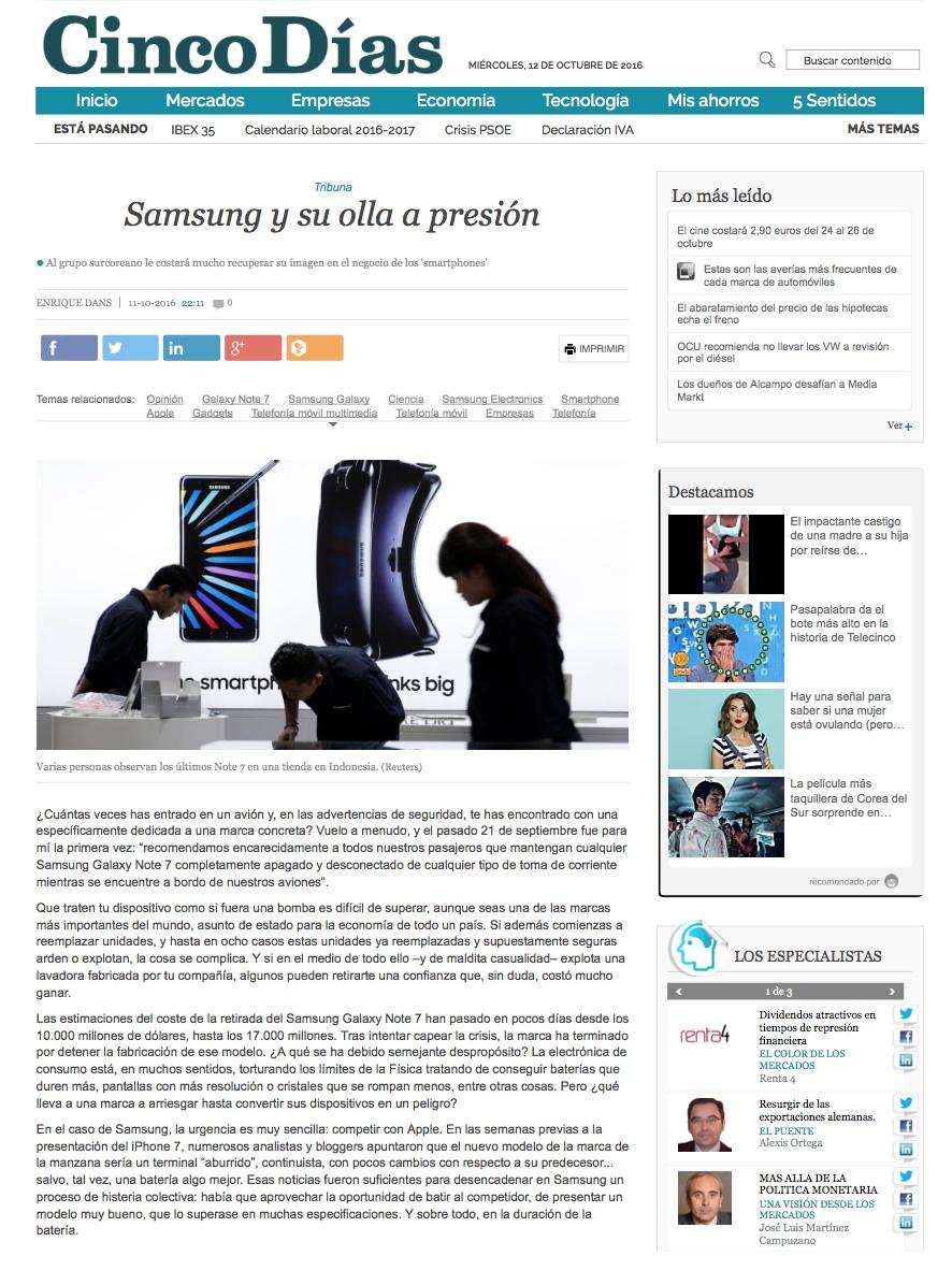 Samsung y su olla a presión - Cinco Días