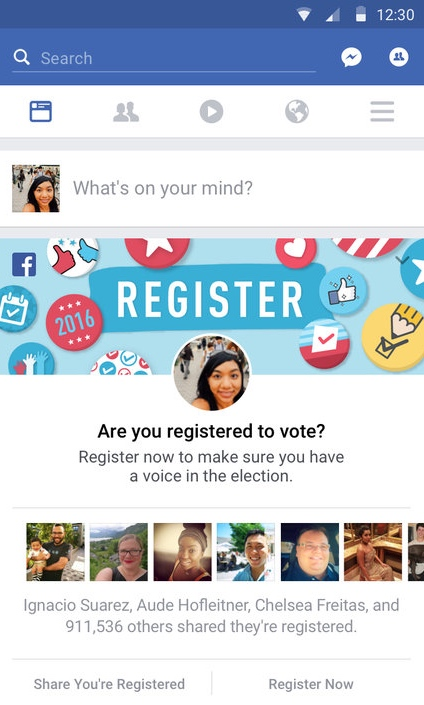 Voter registration campaign - Facebook