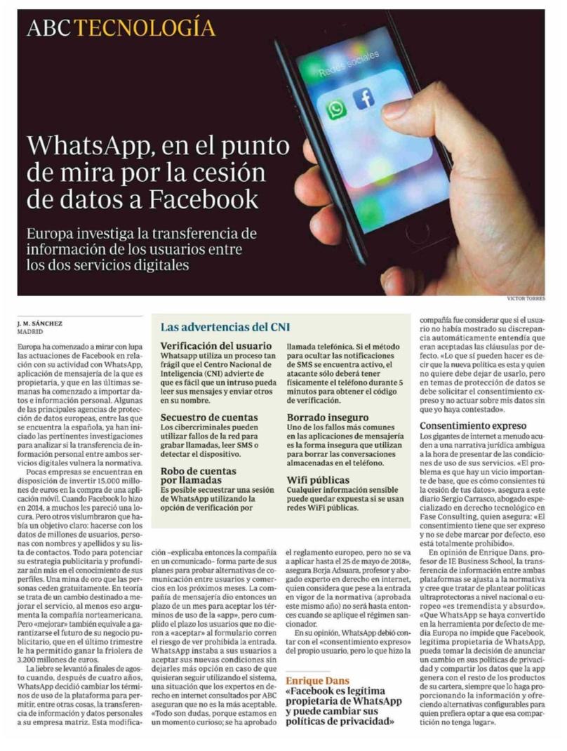 WhatsApp, en el punto de mira por la cesión de datos a Facebook - ABC