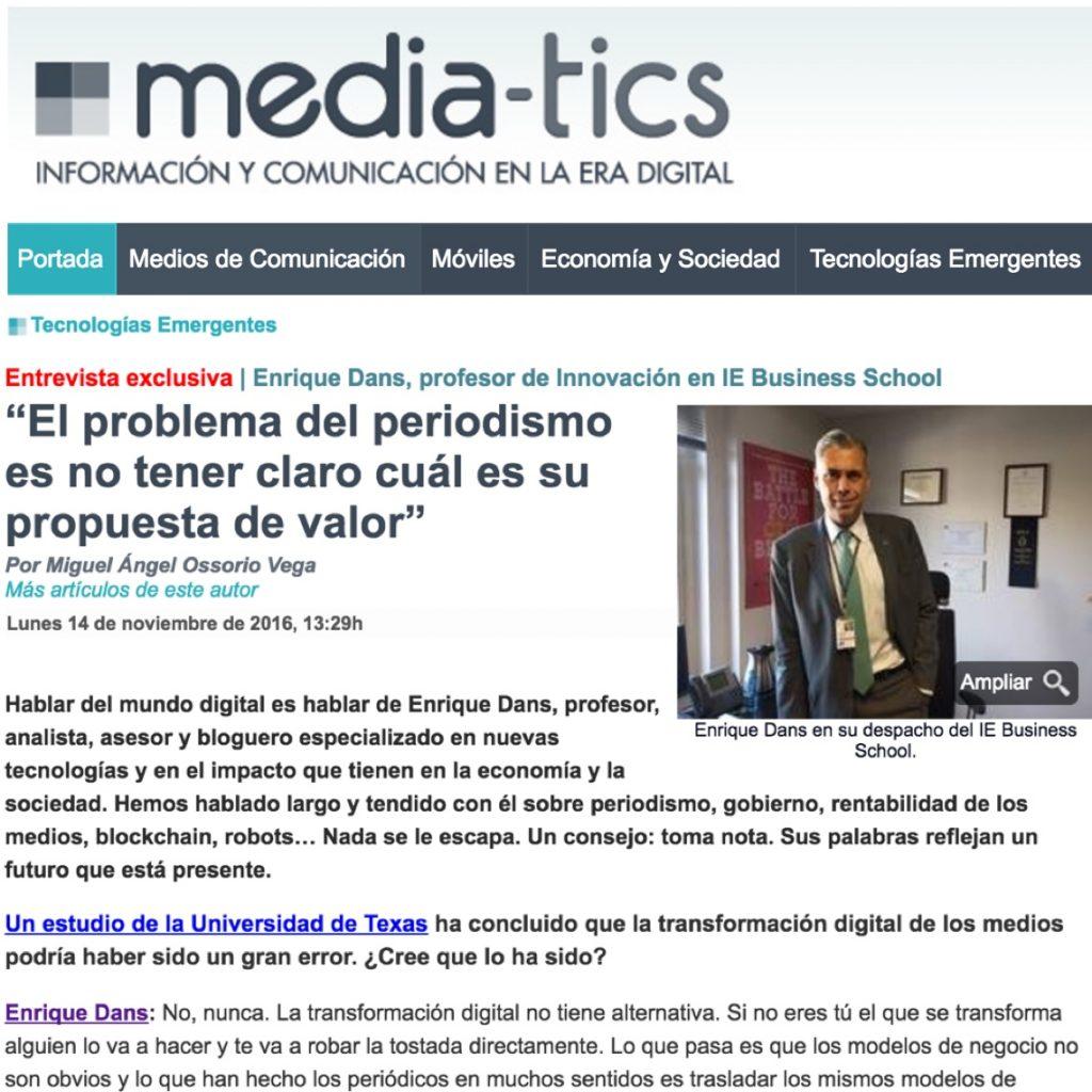 """""""El problema del periodismo es no tener claro cuál es su propuesta de valor"""" - Media-tics"""